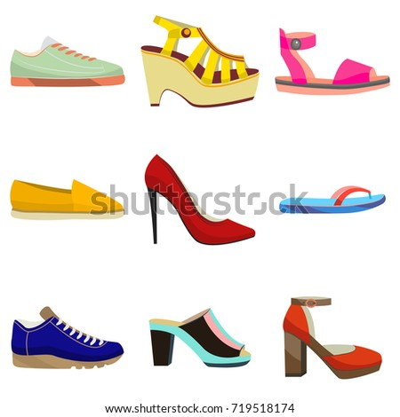 Woman Shoes Set. Colorful Shoes in Cartoon Style for Banners and Fliers of Shops. Vector Illustration of Sneakers Sandals High Heels Slippers Flat and Mules