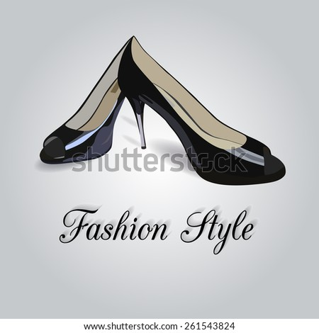 Woman shoes with high heel. Vector illustration - stock vector