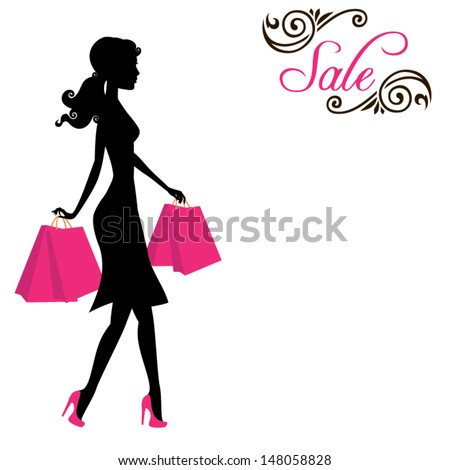 Woman shopping - stock vector