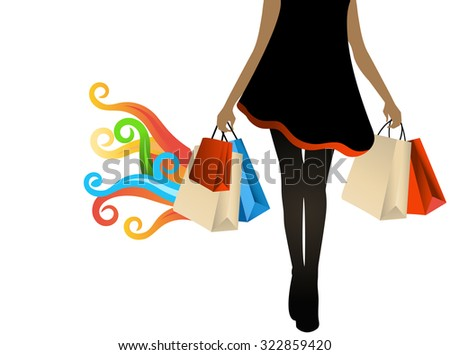 woman shopping bags in hand coil flames multicolored for hot deals  great finds   - stock vector