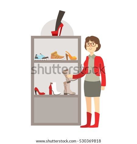 Woman Shopping For Footwear, Shopping Mall And Department Store Section Illustration