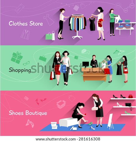 Woman shopping horizontal banner set with clothes and shoes store elements isolated vector illustration - stock vector
