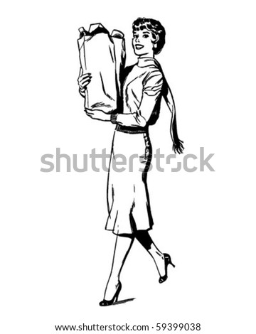 Woman Shopping - Retro Clip Art - stock vector