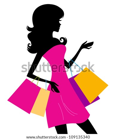 woman_shopping_silhouette - stock vector