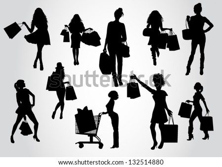 Woman shopping silhouettes - stock vector