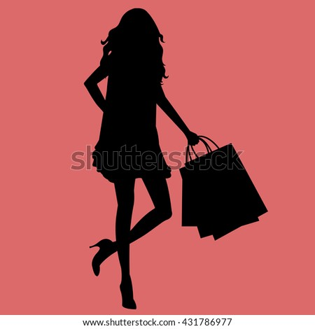 Woman shopping vector silhouette