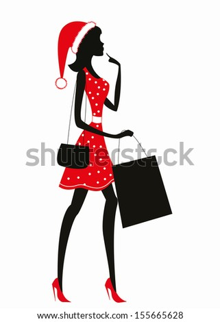 Woman shopping with Christmas hat on her head. - stock vector