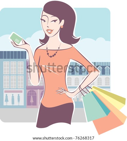 Woman shopping with her credit card - stock vector