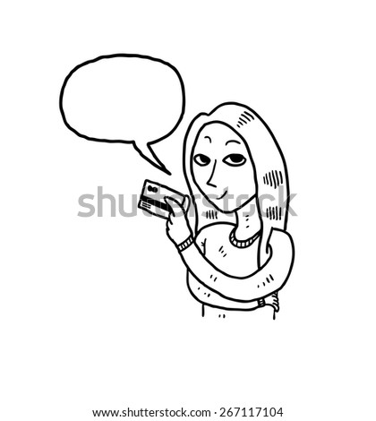 woman showing credit card with bubble speech - stock vector