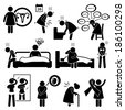 Woman Sickness Illness Diseases Stick Figure Pictogram Icon Cliparts - stock photo