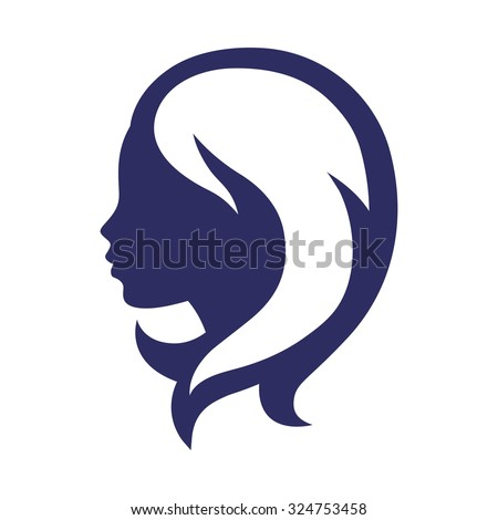 Woman silhouette concept emblem of beauty or hairdressing salon. - stock vector