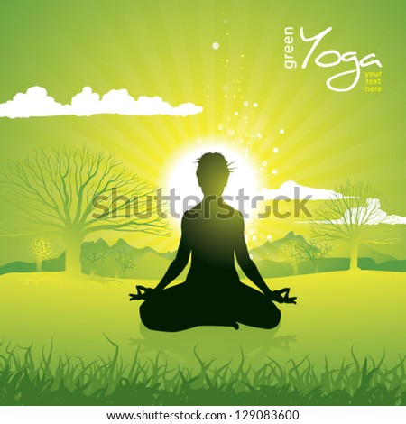 Woman silhouette doing Yoga practice on meadow with rising sun - stock vector