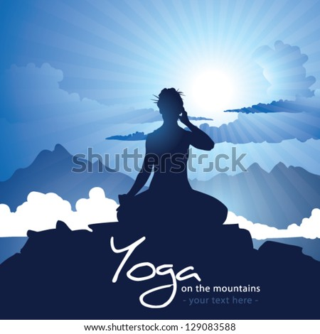 Woman silhouette doing Yoga practice on mountain top with rising sun - stock vector