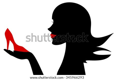 woman silhouette holding red shoe concept vector illustration