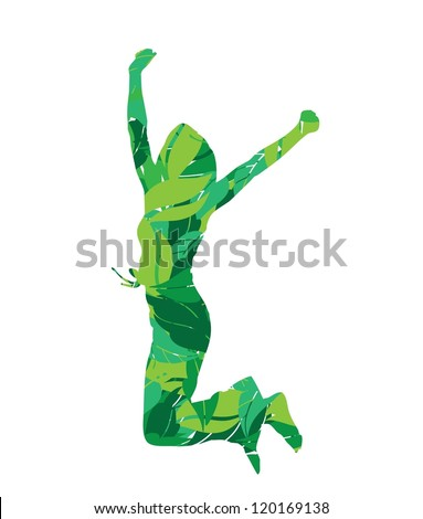woman silhouette in leaves jumping vector illustration - stock vector