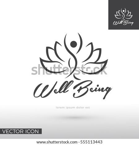 Woman silhouette in lotus flower , LOGO / ICON