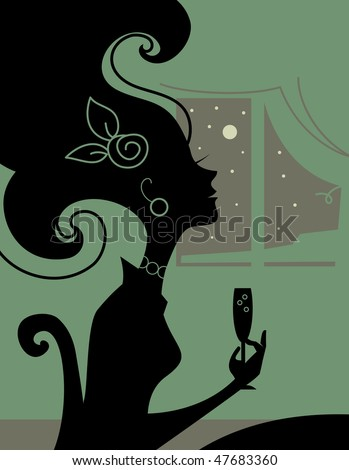 Woman silhouette in the room with a cocktail - stock vector