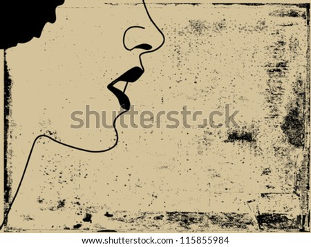 woman silhouette on grunge background, vector illustration - stock vector