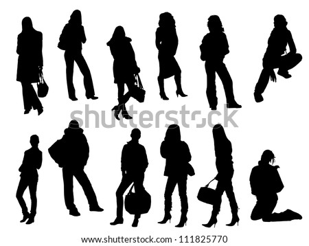 woman silhouette set 2 - stock vector