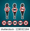 woman silhouette with sigh Abuse, Sexual harassment, sexual assault, sexual abuse and neutral signs: NO sign, Stop sign, Help sign. Vector sign symbols set - stock vector