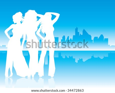 Woman silhouettes with urban background - stock vector