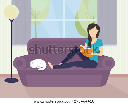 Woman sitting at home on the sofa and reading a book - stock vector
