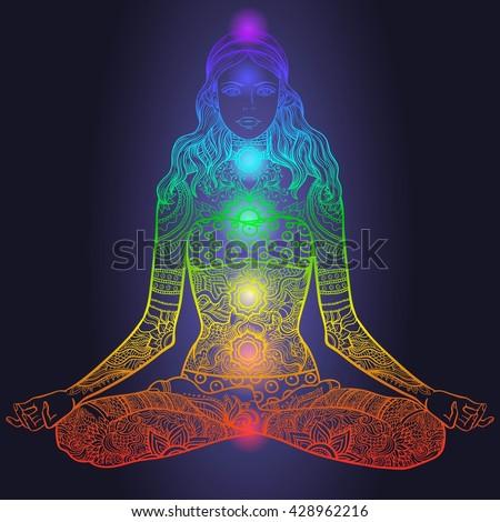 woman sitting yoga lotus pose tattoo stock vector