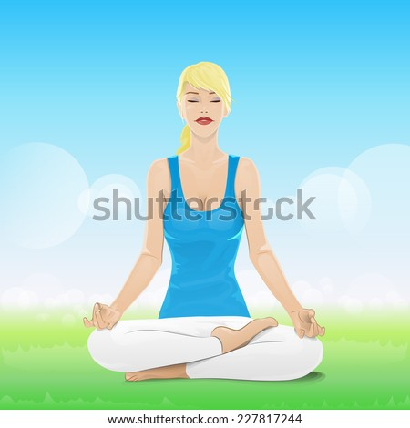 woman sitting in yoga lotus position closed eyes relaxing doing exercises vector illustration - stock vector