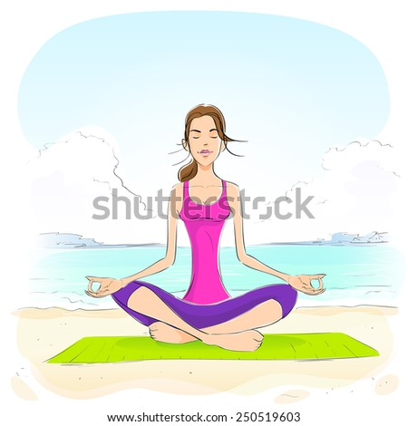 woman sitting in yoga lotus position closed eyes relaxing doing exercises vector illustration
