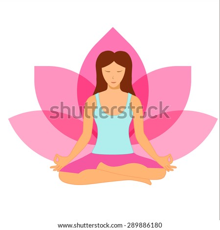 Woman sitting in yoga lotus position isolated on white background - stock vector