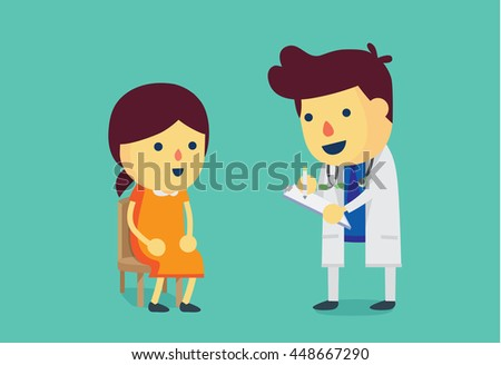 Woman sitting on a chair waiting to meet doctor for health check up. This illustration about health care. - stock vector