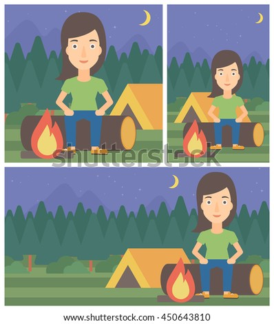 Woman sitting on a log near a fire on a background of camping site with tent. Young woman sitting near a campfire at a campsite. Vector flat design illustration. Square, horizontal, vertical layouts. - stock vector