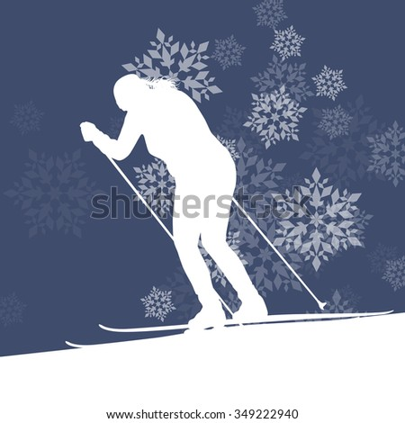 Woman skiing athlete skier skiing extreme winter background concept with snowflakes falling - stock vector