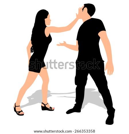Man Slaps Another Man Woman Slapping a Man Vector