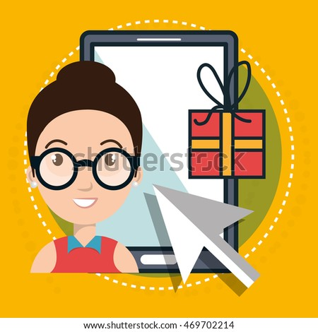 woman smartphone shopping online vector illustration graphic