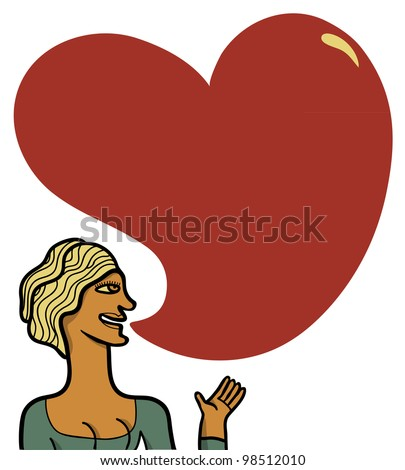 woman speak heart shape globe of text - stock vector