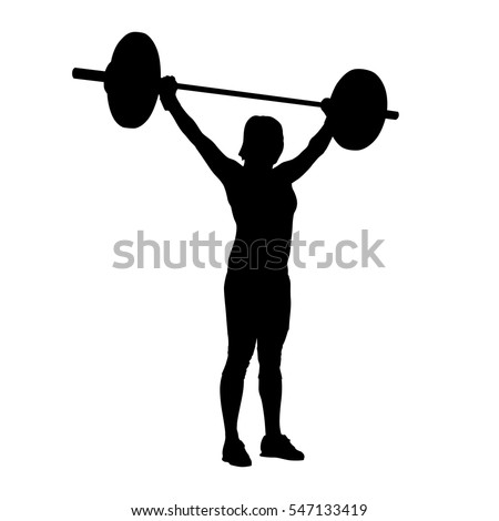 woman standing and holding barbell over her head bodybuilding weight lifting vector