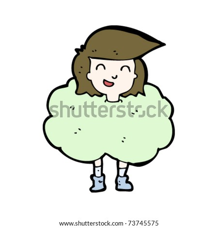 woman standing in cloud of smell cartoon - stock vector
