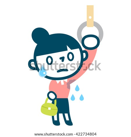 Woman suffering aside sweat - stock vector