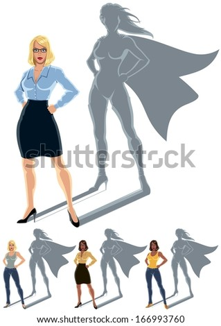 Woman Superhero Concept: Conceptual illustration of ordinary woman with superheroine shadow. The illustration is in 4 versions. No transparency and gradients used.  - stock vector