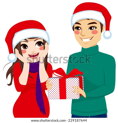 Woman surprised receiving Christmas present from man - stock vector