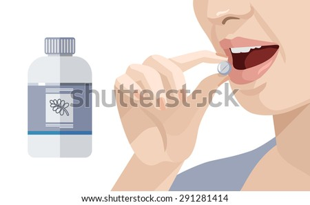 Woman takes a pill. Vector flat illustration - stock vector
