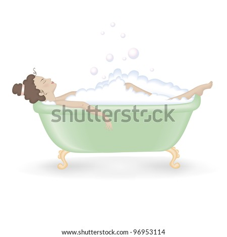 Woman taking a bath with foam