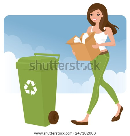 Woman taking out the recycling.