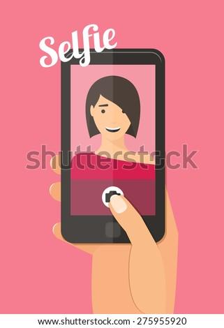 Woman taking selfie. Hand holding smartphone vector illustration. - stock vector