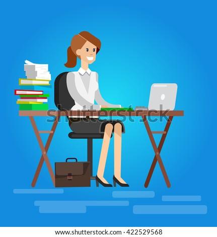 Woman teacher tutor at the desk in the classroom.  Flat - stock vector