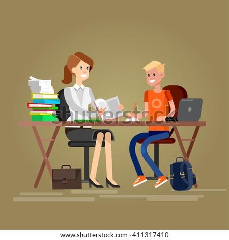 Woman teacher tutor tutoring boy kid at home. Mother helping son with homework. Flat - stock vector