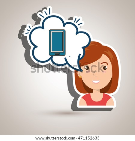 woman technology bublle speak vector illustration design
