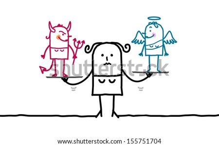 woman & temptation - stock vector