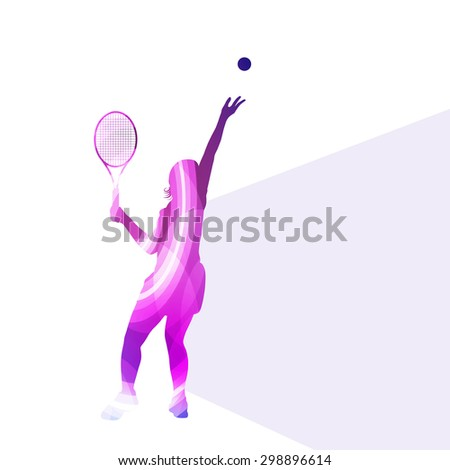 Woman tennis silhouette vector background colorful concept made of transparent curved shapes - stock vector